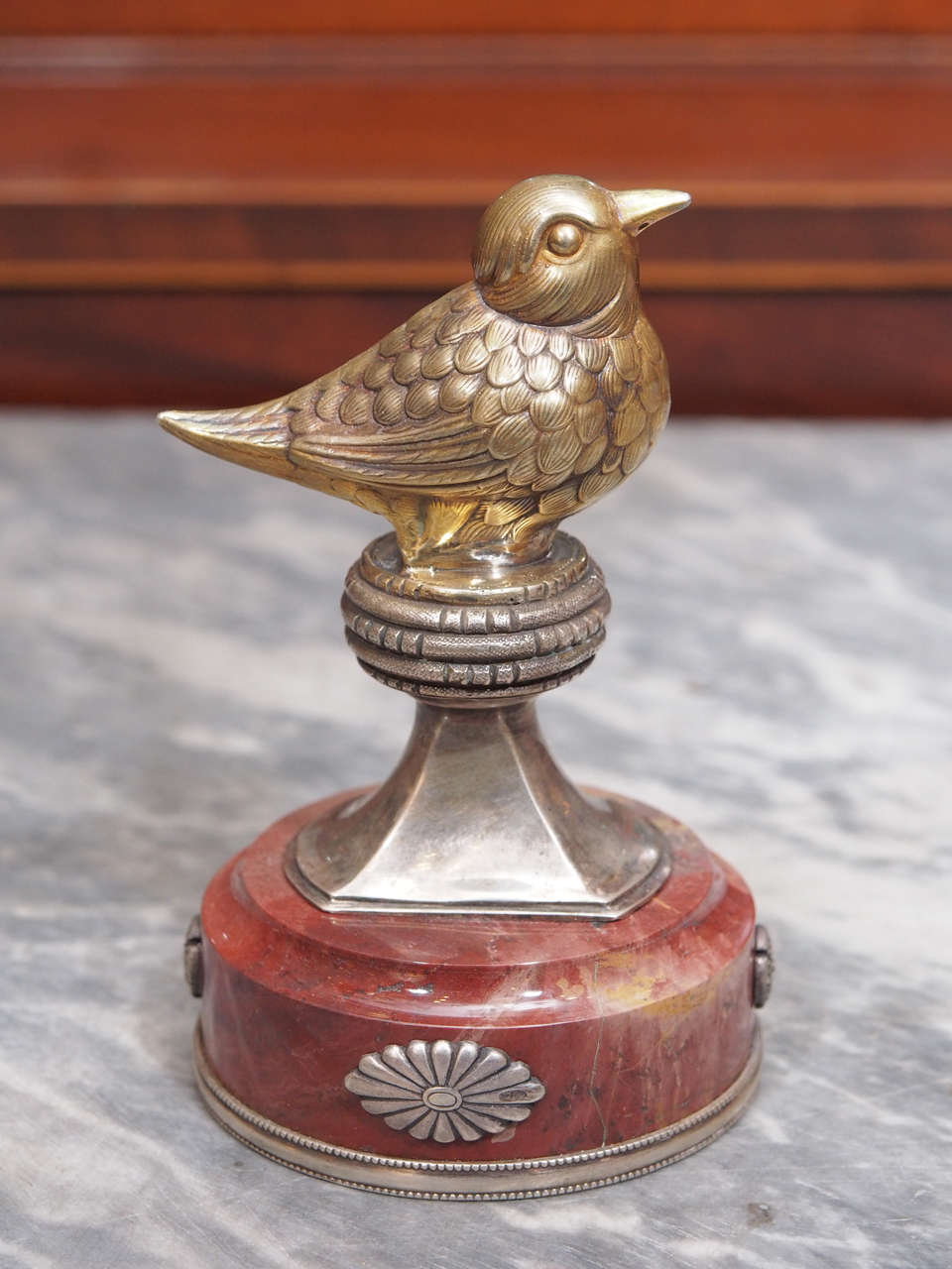 Russian silver and marble figural paper weight in form of a bird with lavender marble base. Holds 84 silver purity mark with Julius Rappoport work master mark.