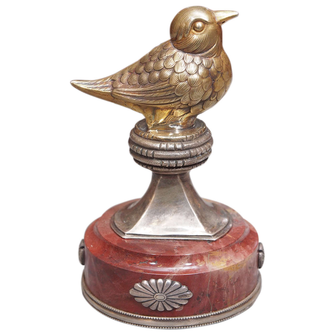 Russian Silver and Marble Figural Bird Paperweight For Sale