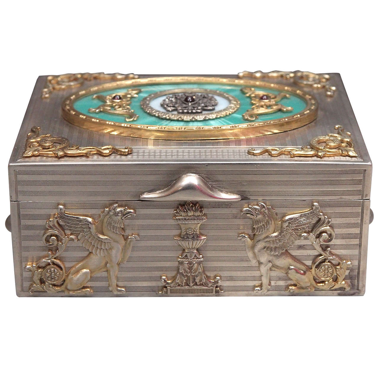 Russian Guilloche Enameled Jeweled Silver Box