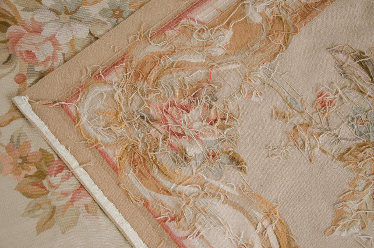 shabby chic itm details pink rug about french roses light ivory wow aar cream aubusson rugs pastel subtle