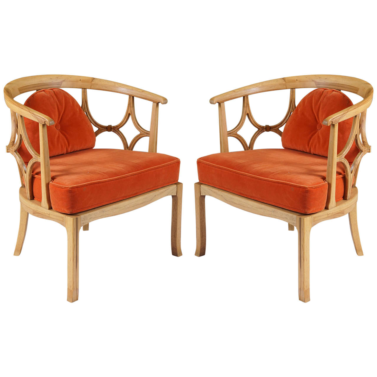 Beau Pair Of Mid Century Modern Chairs After Dorothy Draper For Sale
