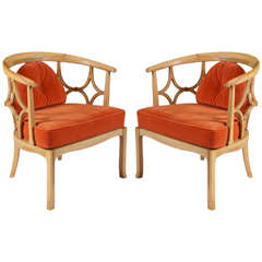 Pair of mid century modern chairs after Dorothy Draper