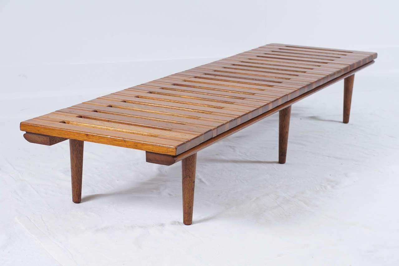 Mid Century Low Wooden Slat Bench At 1stdibs