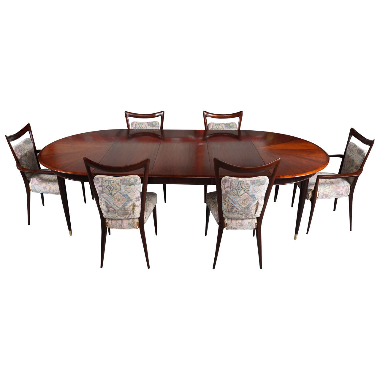 Melchiorre Bega Mahogany Dining Set 10 Chairs Table With Three Leaves Italy 1