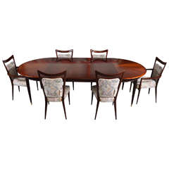 Melchiorre Bega Mahogany Dining Set, 10 Chairs, Table with Three Leaves, Italy