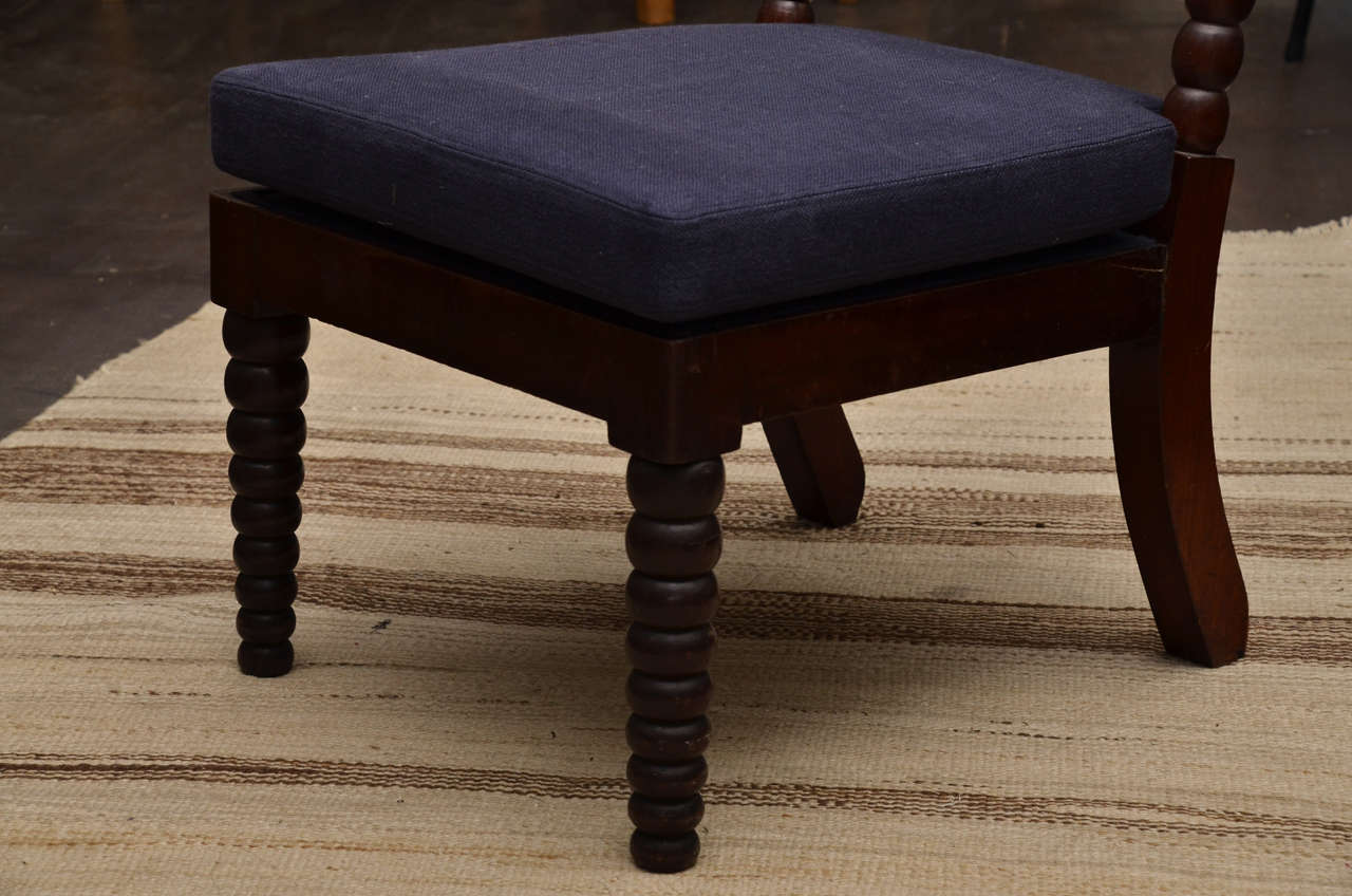 English Bobbin Style Mahogany Side Chair with Navy Linen Seat For Sale
