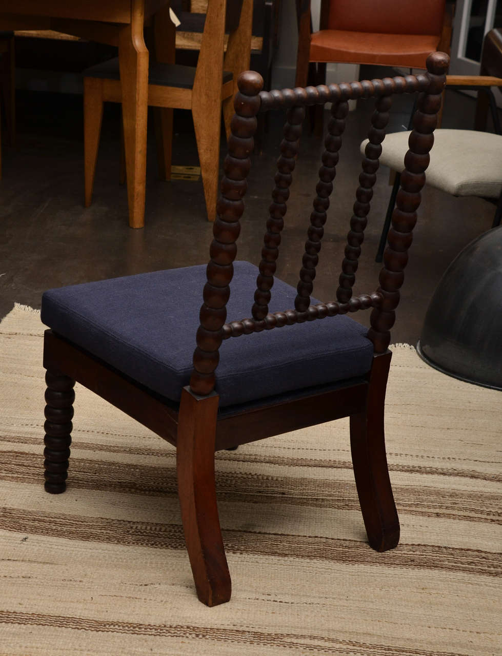 Bobbin Style Mahogany Side Chair with Navy Linen Seat For Sale 1