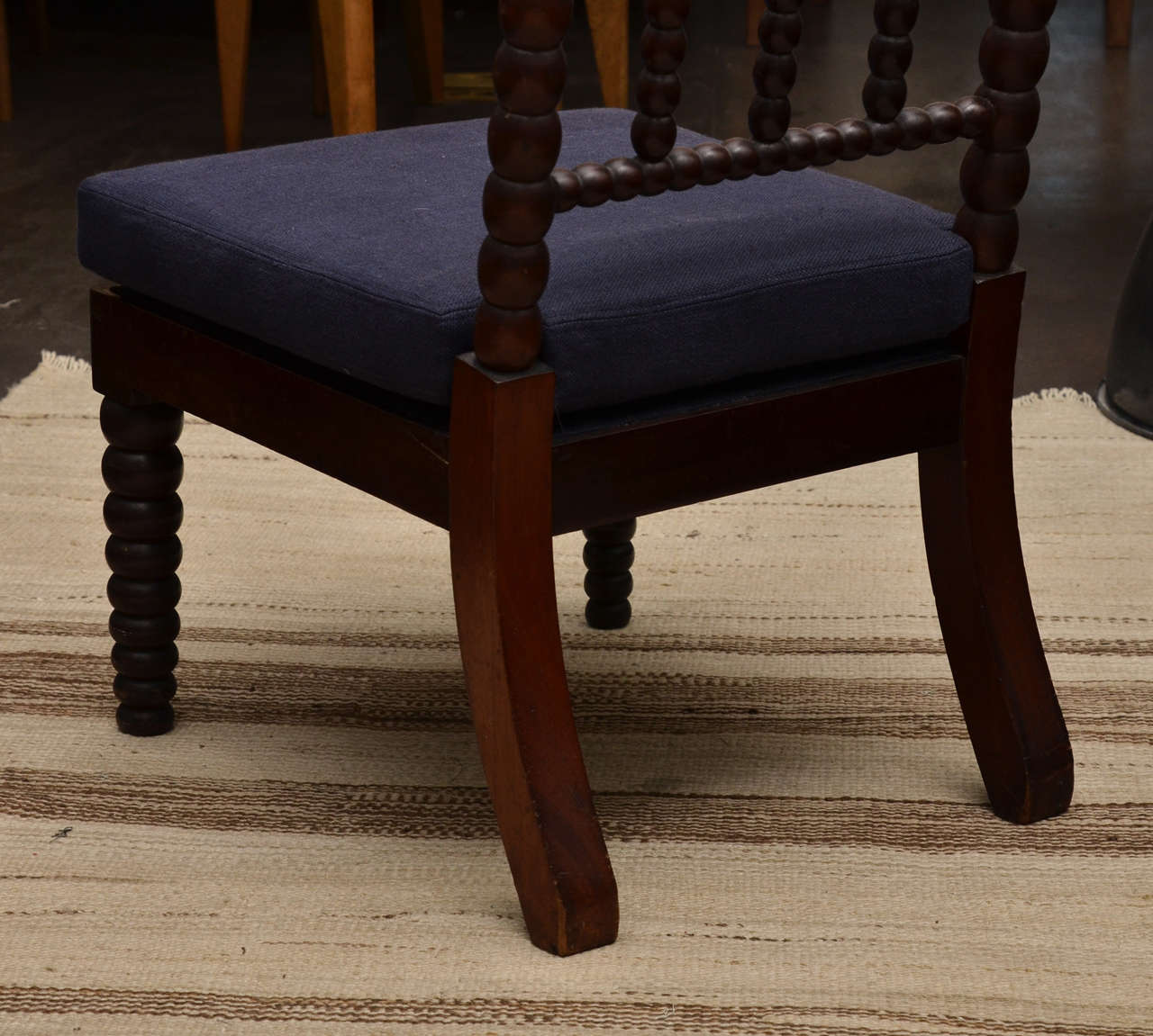 Bobbin Style Mahogany Side Chair with Navy Linen Seat For Sale 2
