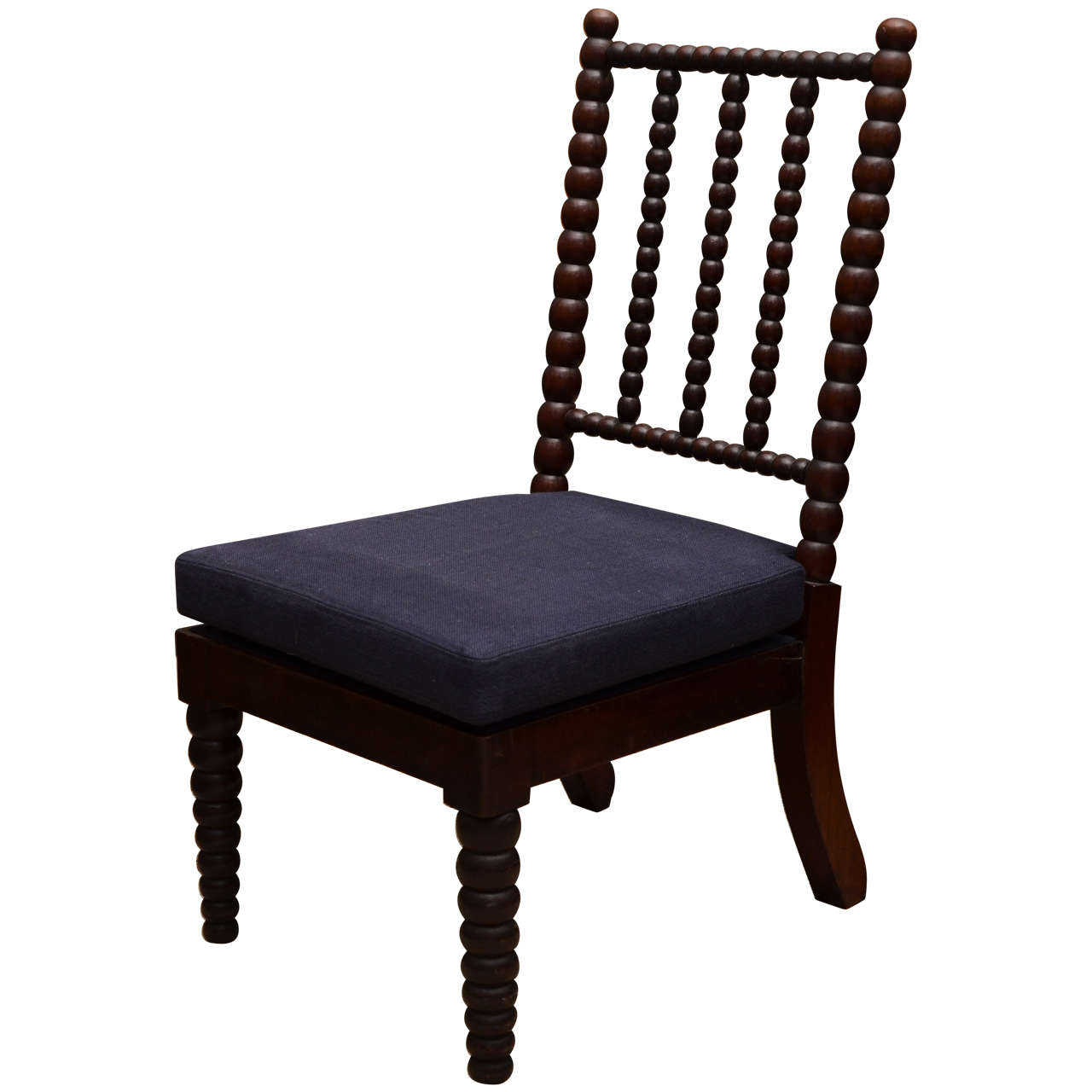 Bobbin Style Mahogany Side Chair with Navy Linen Seat For Sale