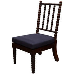 Bobbin Style Mahogany Side Chair with Navy Linen Seat