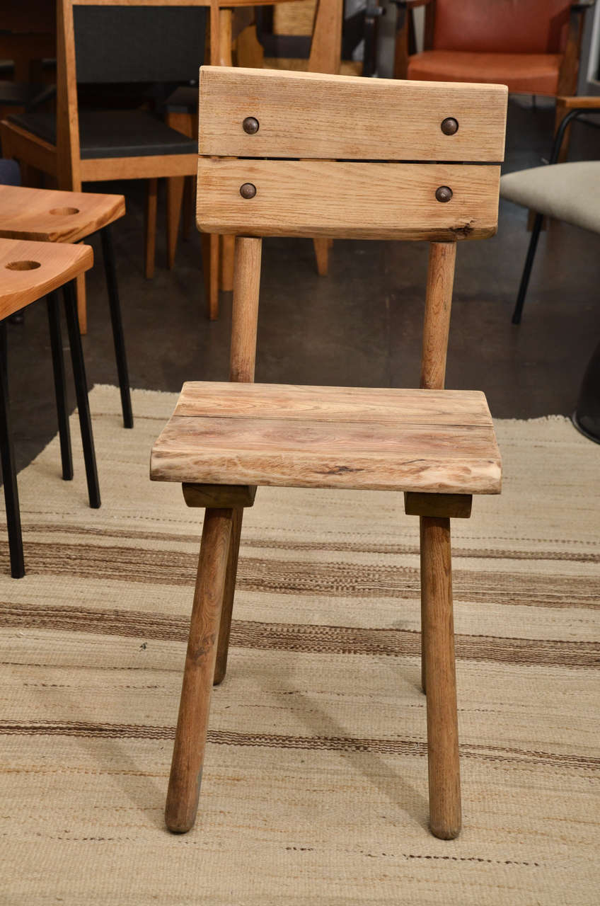 Set of Six Rustic Oak Dining Chairs In Excellent Condition For Sale In East Hampton, NY