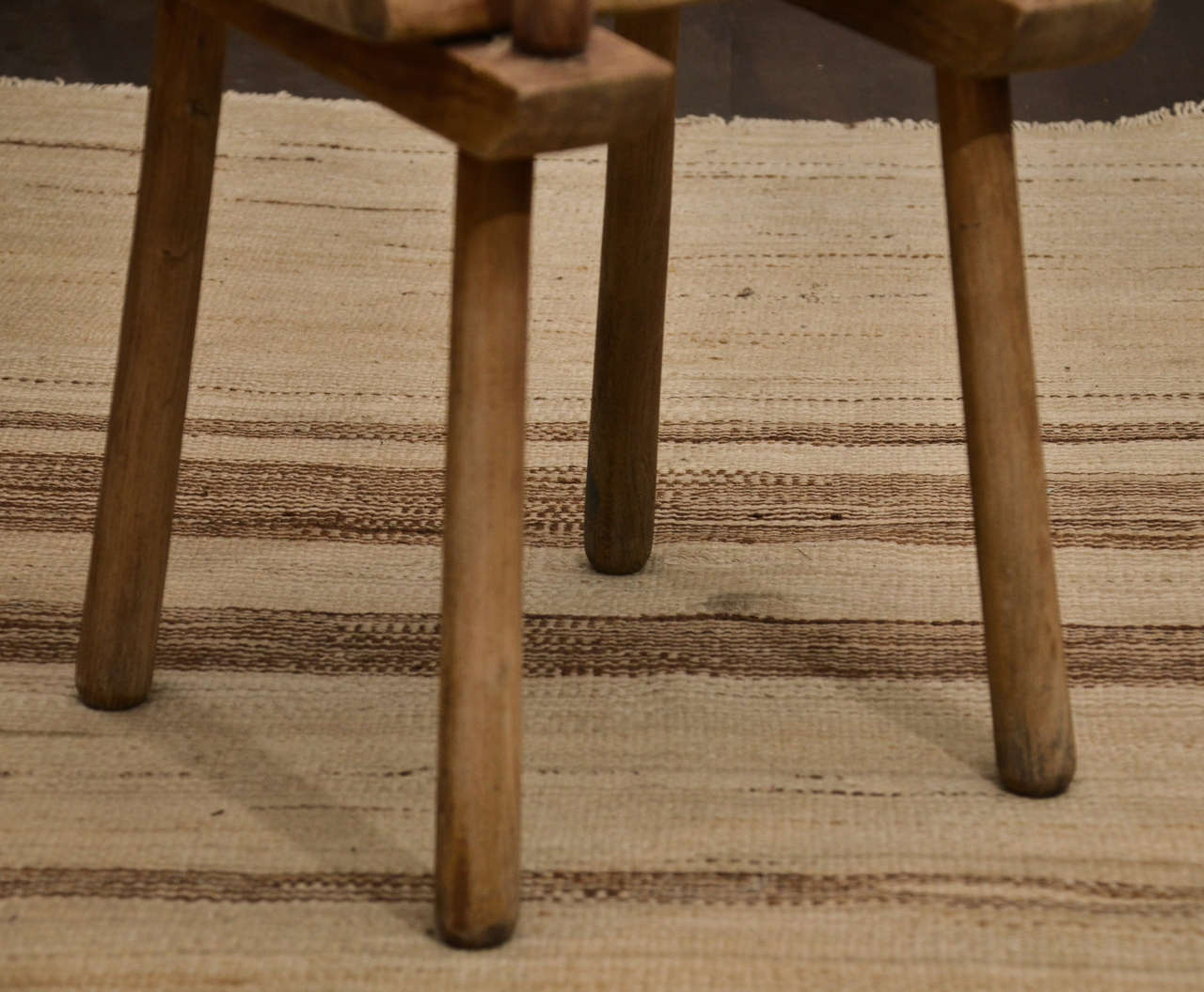 Set of Six Rustic Oak Dining Chairs For Sale 3