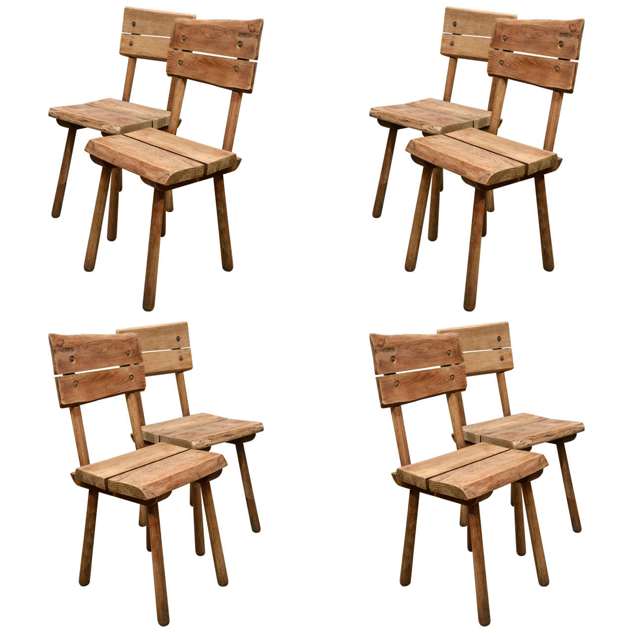 Set of eight rustic oak dining chairs for sale at stdibs