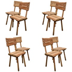 Set of Six Rustic Oak Dining Chairs