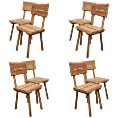 Set of Eight Rustic Oak Dining Chairs