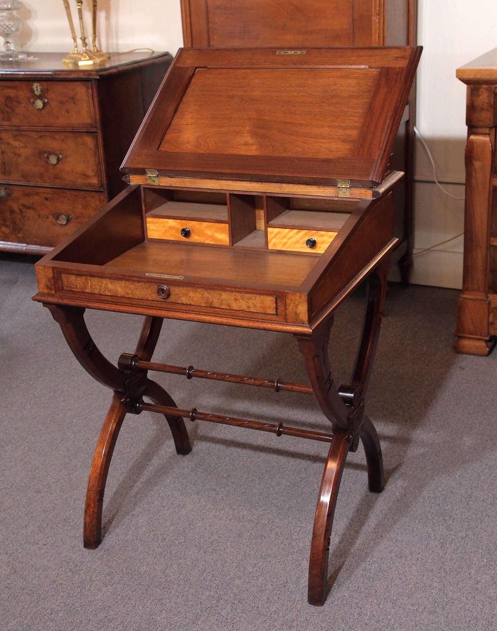 19th century american eastlake davenport desk burled for Eastlake storage
