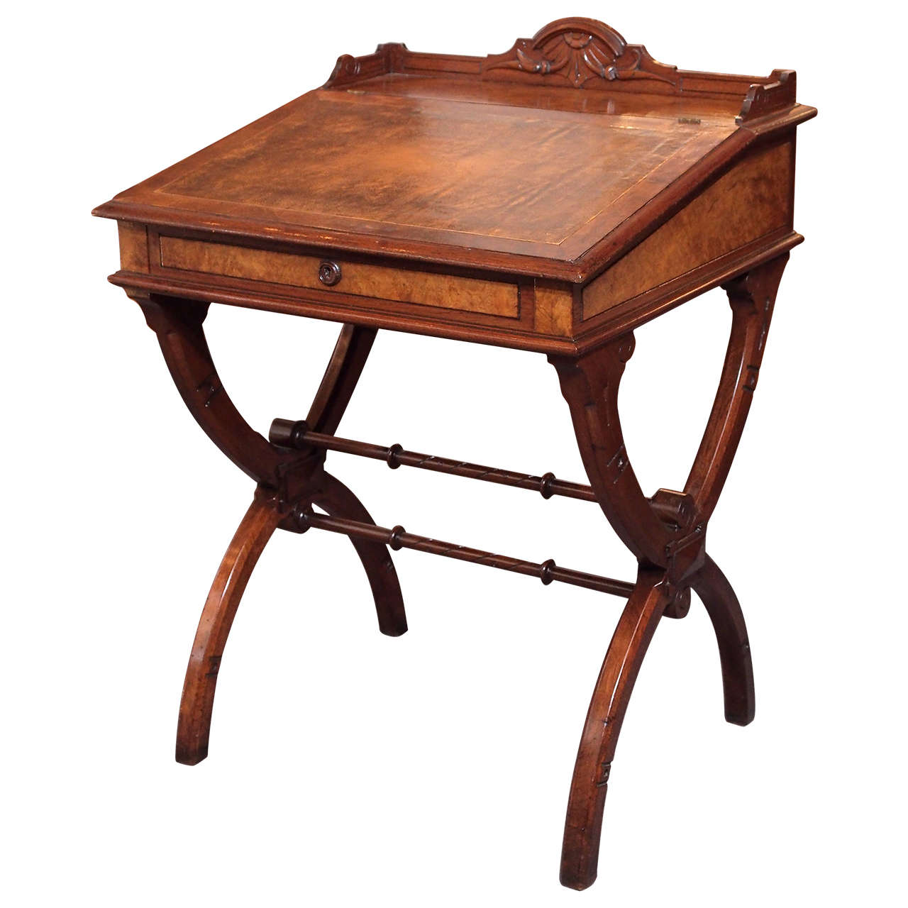 19th Century American Eastlake Davenport Desk, Burled Walnut 1