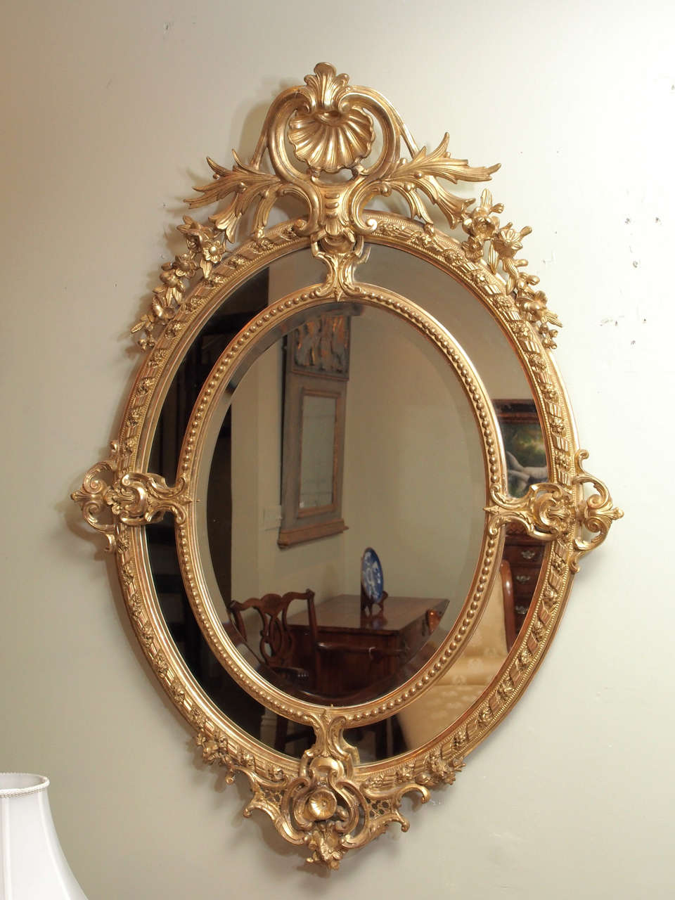 Antique French Double Oval Gold Leaf Mirror For Sale At