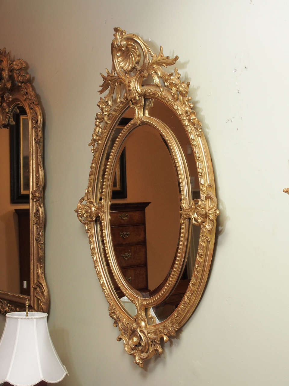 Antique french double oval gold leaf mirror at 1stdibs for French mirror