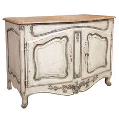 Antique French Provincial Painted and Faux Marble Buffet