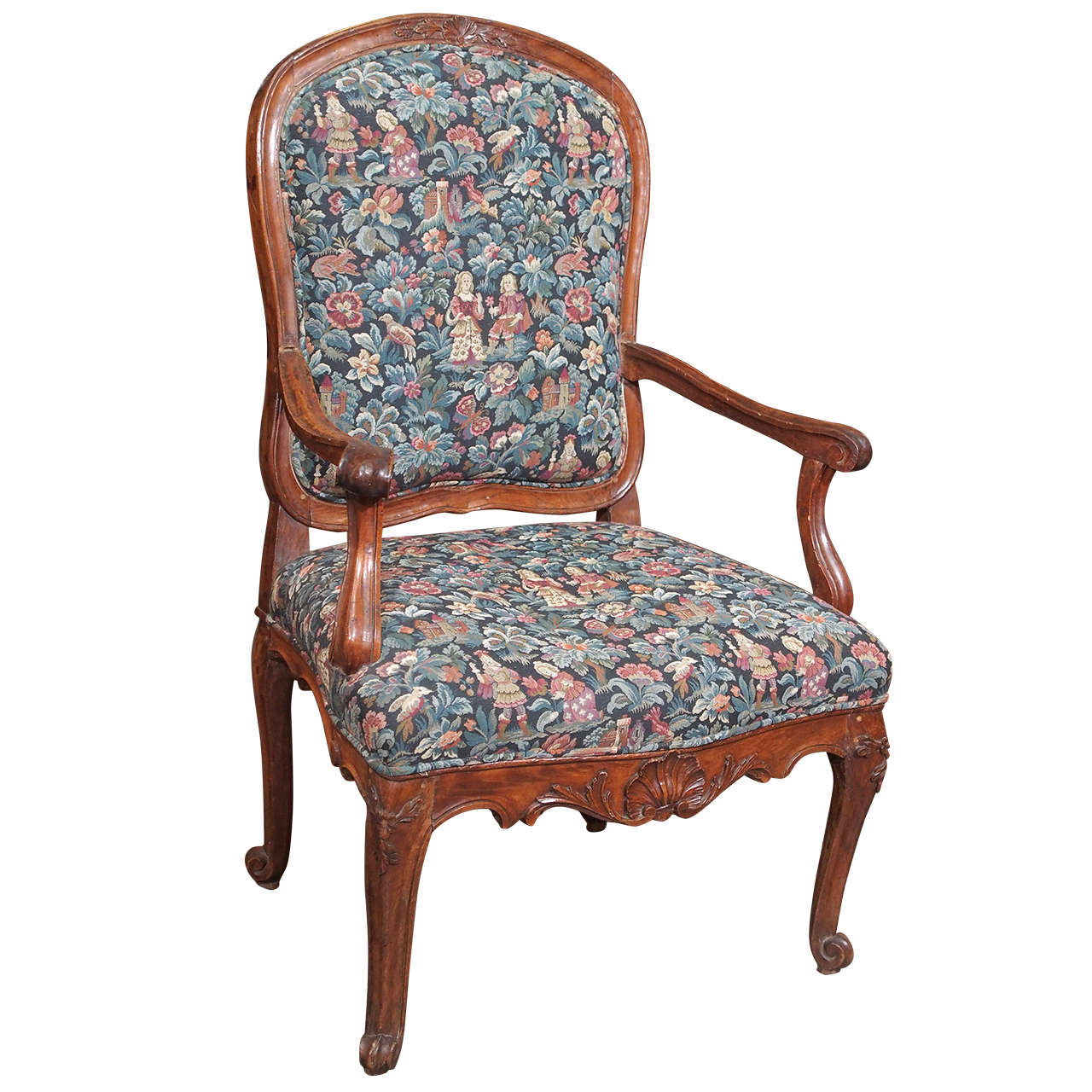 antique french louis xv fauteuil in walnut at 1stdibs. Black Bedroom Furniture Sets. Home Design Ideas
