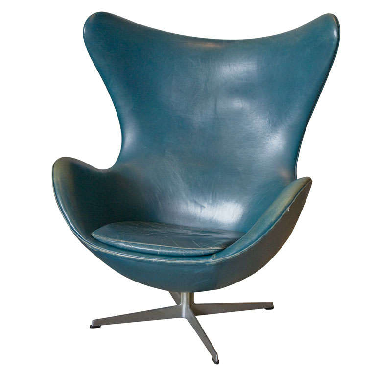 a vintage arne jacobsen egg chair in original bluish. Black Bedroom Furniture Sets. Home Design Ideas