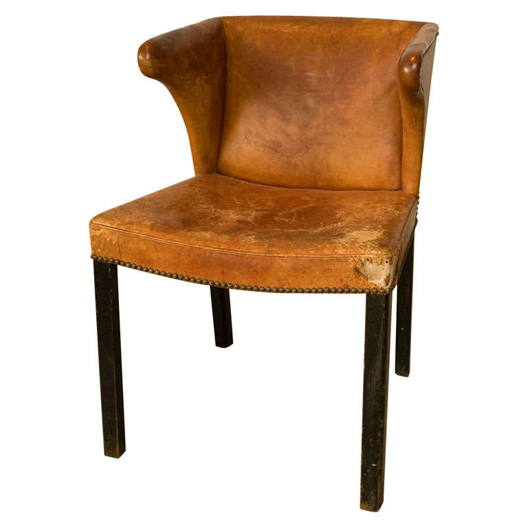 A Frits Henningsen Cognac Leather Chair Ca 1930 at 1stdibs
