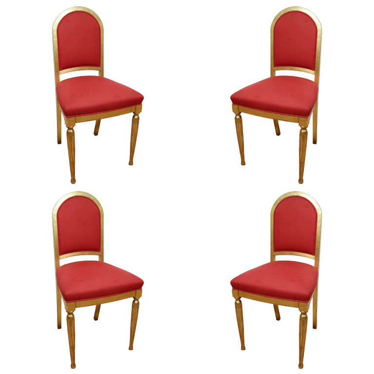 Art deco gilt wood side chairs at stdibs