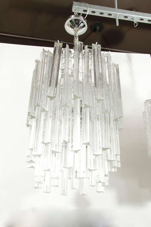 Mid Century Modern Three-Tier Camer Crystal Chandelier with Chrome Fittings For Sale 3