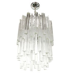 Mid Century Modern Three-Tier Camer Crystal Chandelier with Chrome Fittings