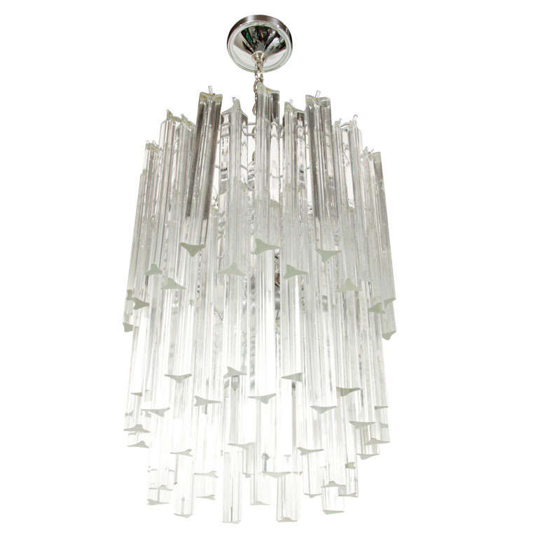 Mid Century Modern Three-Tier Camer Crystal Chandelier with Chrome Fittings For Sale