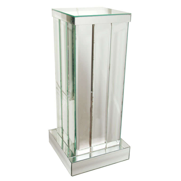 Skyscraper Style Mirrored Pedestal With Hand Beveled