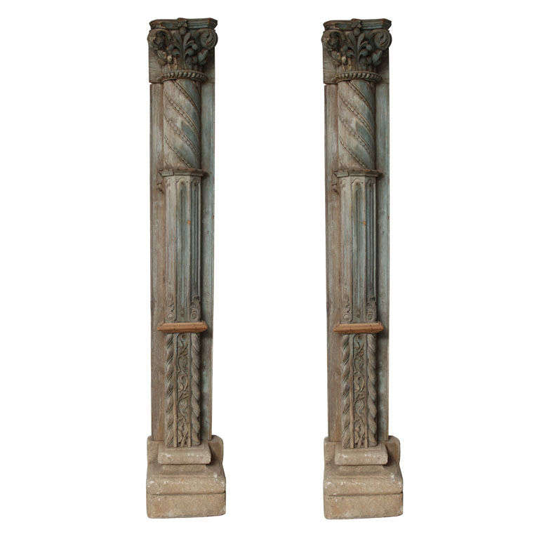 Stone Column Base : Impressive pair of carved wooden columns with stone bases