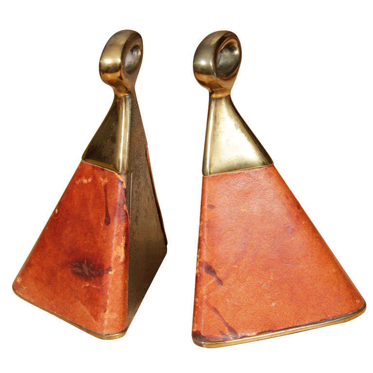 Ben Seibel for Jenfredware Brass and leather Bookends For Sale
