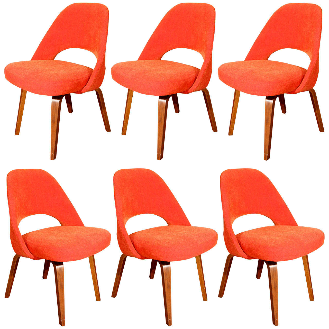 saarinen executive chairs with wood legs by knoll set of 6 at 1stdibs