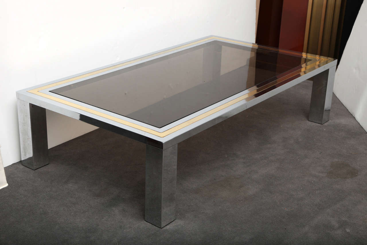 Chrome And Brass French 1970 39 S Coffee Table With Glass Top Image 2
