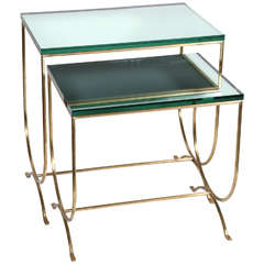 Two Exquisite French Solid Brass Side Tables, circa 1970