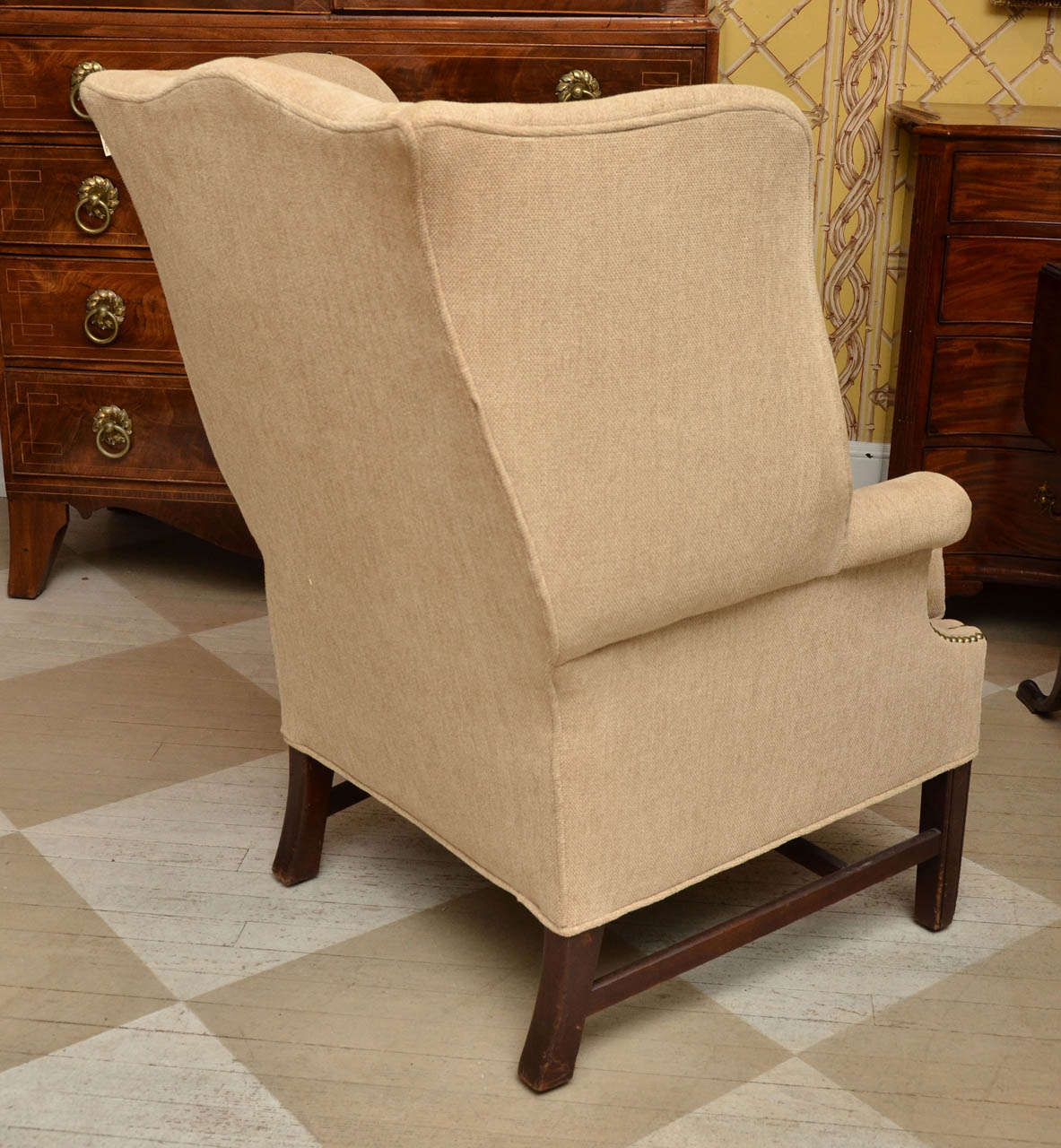 English Georgian Style Mahogany Wing Chair For Sale At 1stdibs