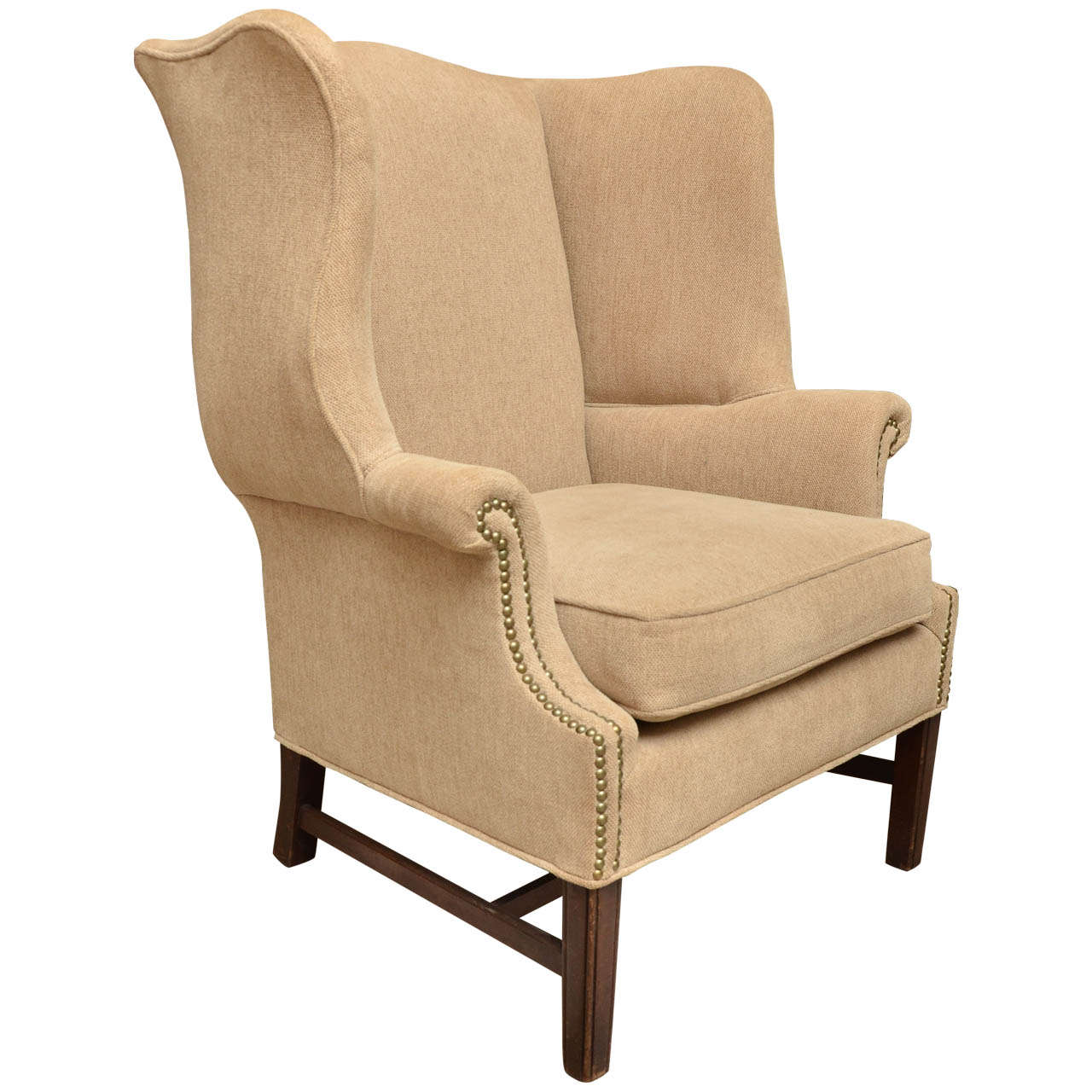 Seating Mini Gravita Armchair In Oriental Garden Fabric: English Georgian Style Mahogany Wing Chair