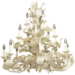 American White Tole Leaf Chandelier