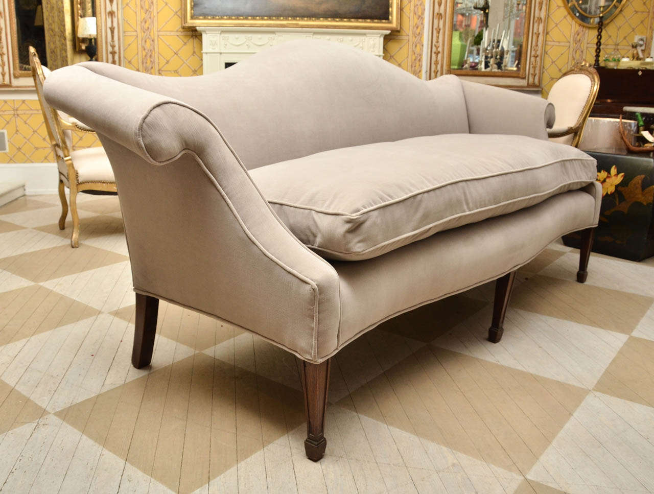 Late 19th Century American Regency Style Mahogany Serpentine Sofa Newly Upholstered And In Excellent Condition