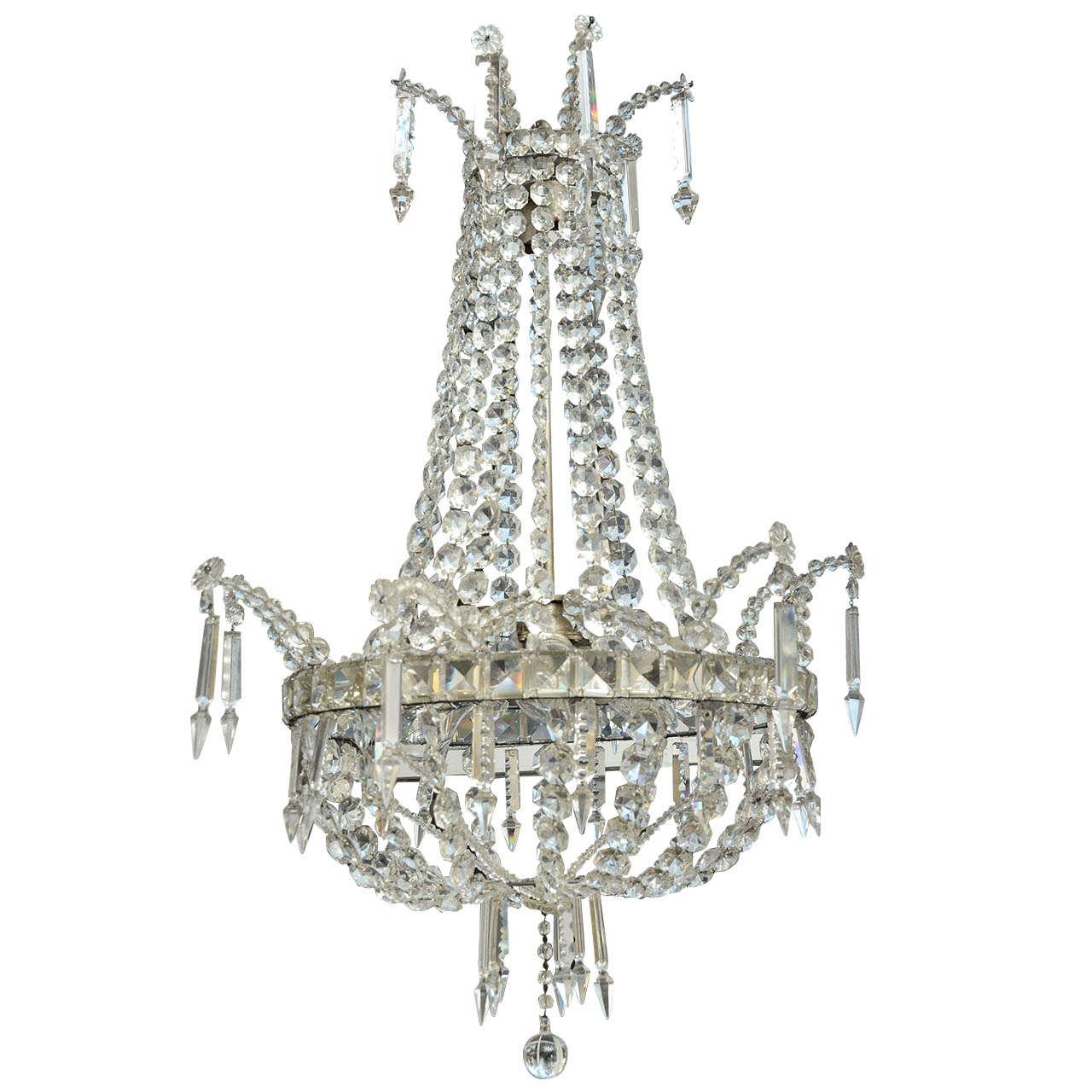 19th century swedish crystal regency style chandelier at 1stdibs 19th century swedish crystal regency style chandelier 1 arubaitofo Gallery