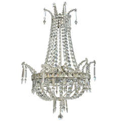 19th Century Swedish Crystal Regency Style Chandelier