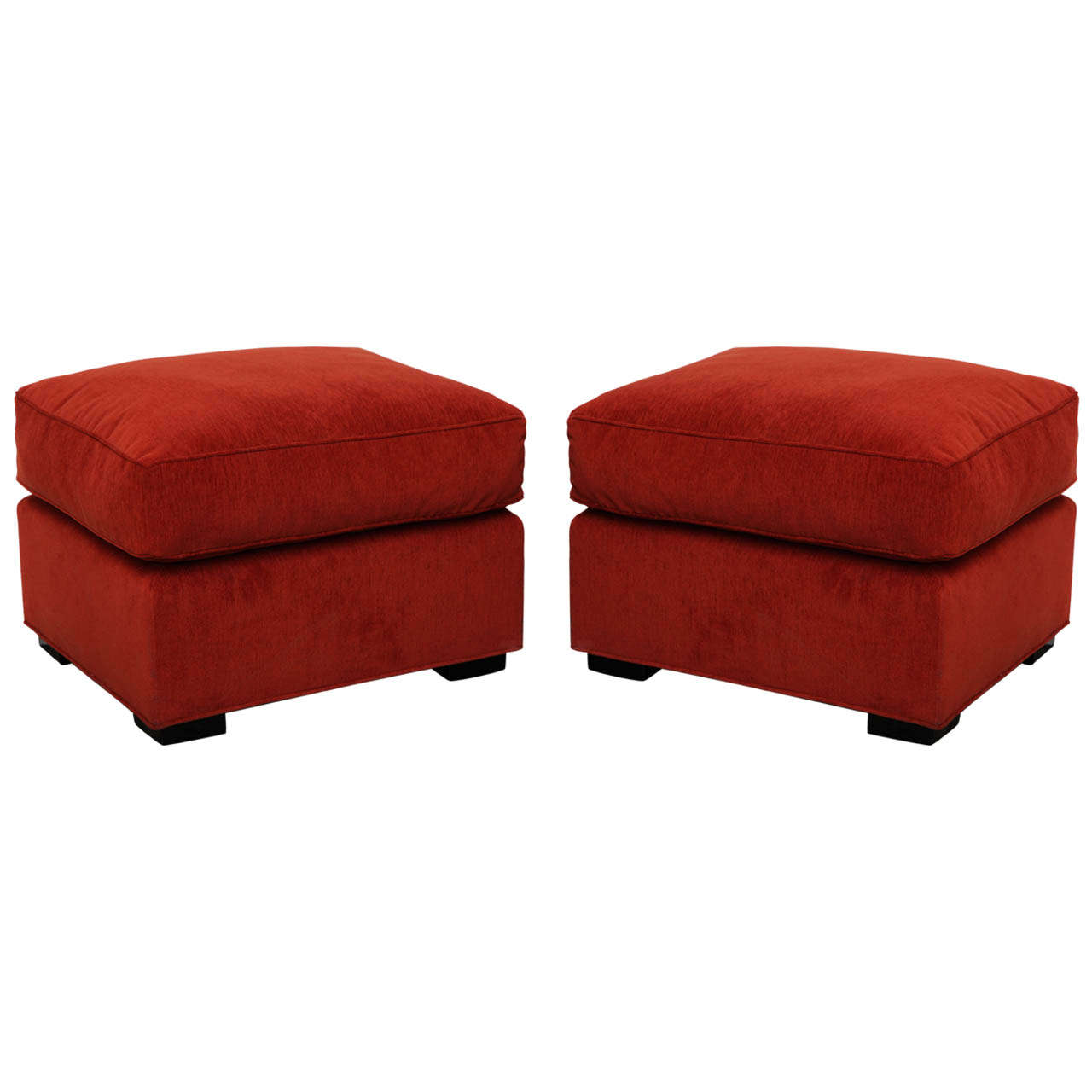 pair of upholstered ottomans for sale at 1stdibs. Black Bedroom Furniture Sets. Home Design Ideas