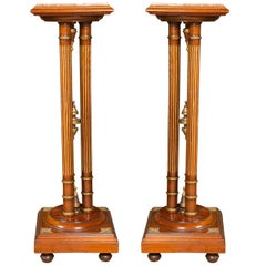 Pair Regency Style Mahogany Column Pedestals Square Marble Tops Brass Accents