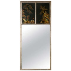 Chinoiserie Hand Painted Style Faux Silver Bamboo Mirror