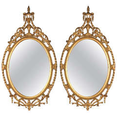 Pair of French Louis XIV Style Oval Mirrors