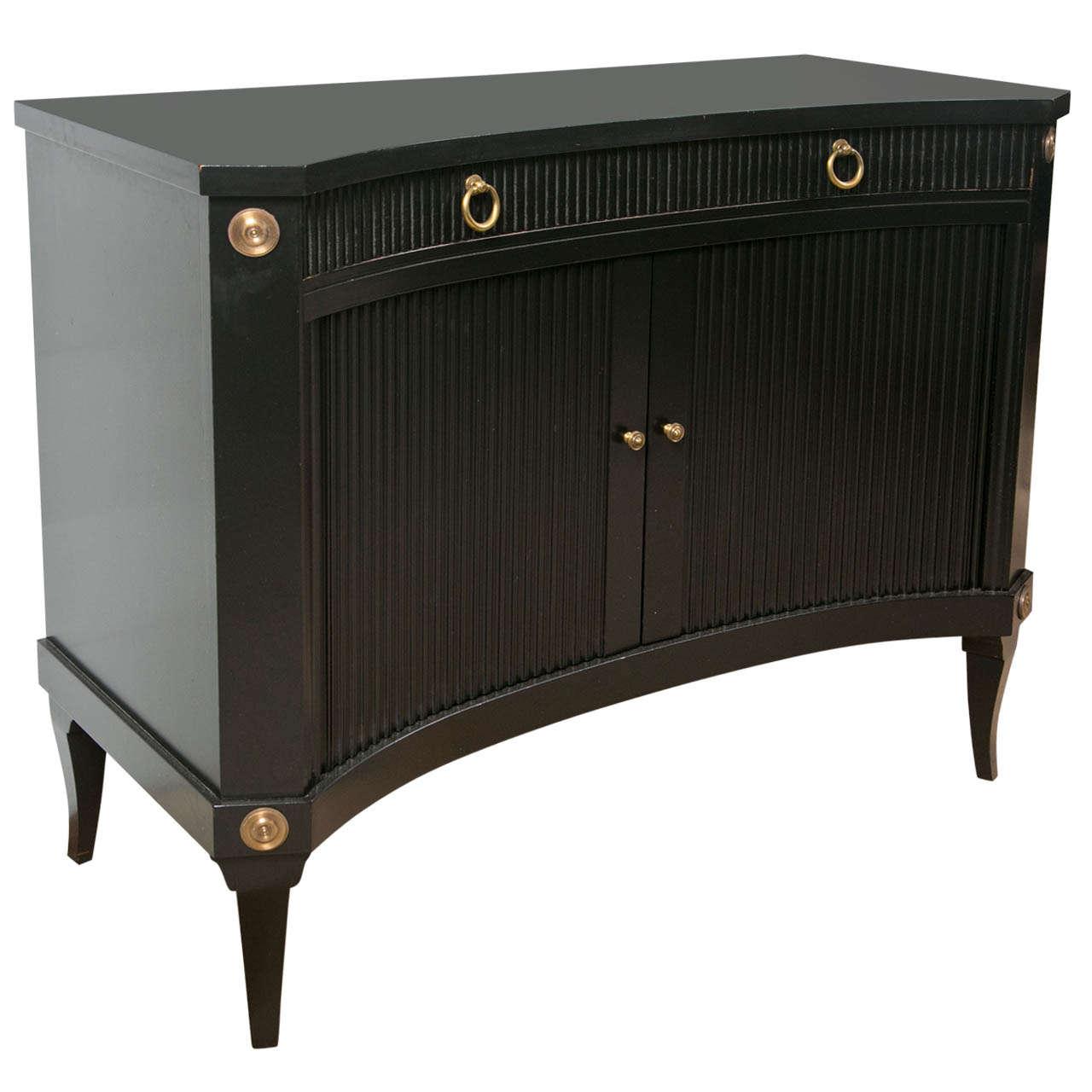 Hollywood Regency Style Ebonized Cabinet At 1stdibs