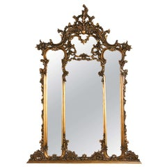 Fine French Carved Four Section Carved Rococo Over the Mantle Or Wall Mirror