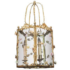 Antique French Bronze Lantern with Saxe Flowers circa 1890s